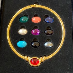 Joan rivers interchangeable stone necklace.